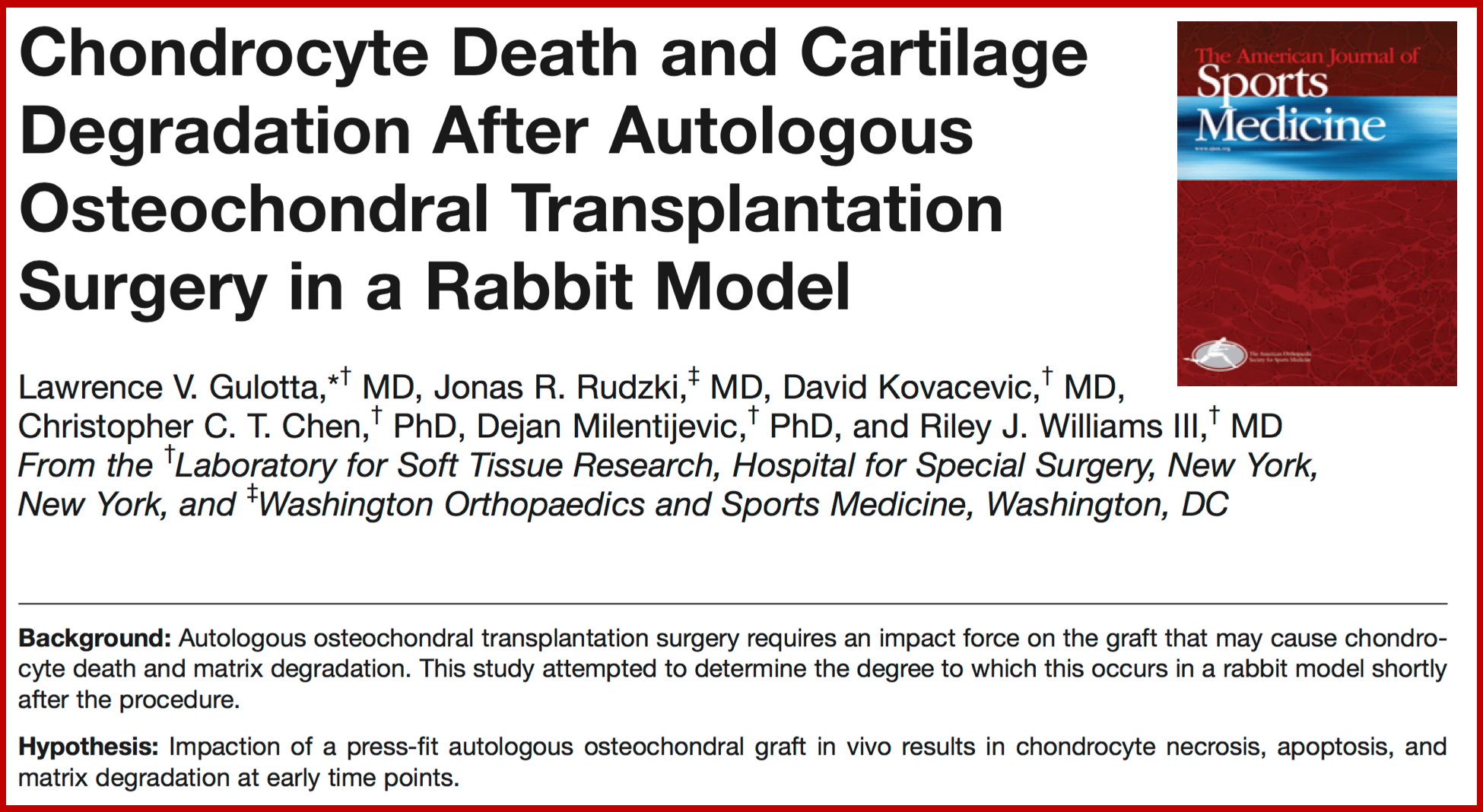 Apoptosis from Cartilage Transplantation in Rabbit Model Rudzki