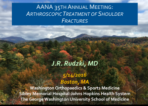Rudzki AANA Boston Arthroscopic Fracture Treatment of Shoulder Injuries 2016