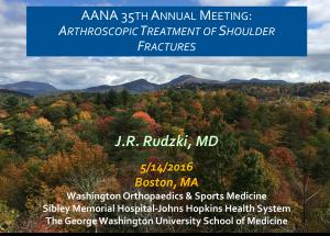 Rudzki AANA Boston Arthroscopic Fracture Treatment of Shoulder Injuries 2016